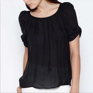 Joie Eleanor Tie Back Silk Blouse Black Top XS